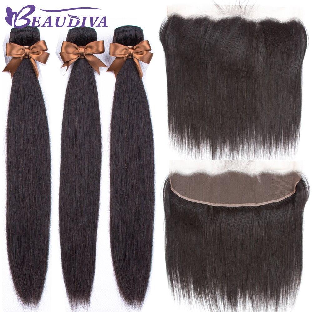 Luxediva ブラジルストレートヘア織りバンドルレースフロント人間の髪のバンドル前頭閉鎖 13*4 ヘアエクステンションレミー  グループ上の ヘアエクステンション & ウィッグ からの 3/4 バンドル留め具付き の中 1