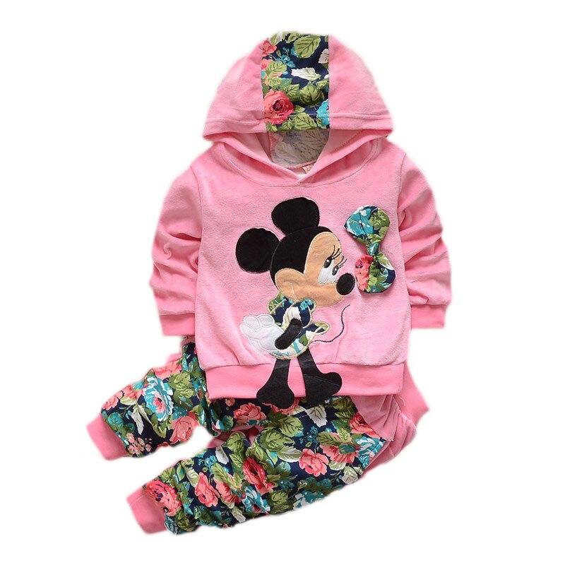 Kleinkind Mädchen Kleidung Sets Kinder 2016 Frühling Kinder Samt Kleidung Set Cartoon Minnie Baby Mädchen Anzüge Hoodies + Hosen