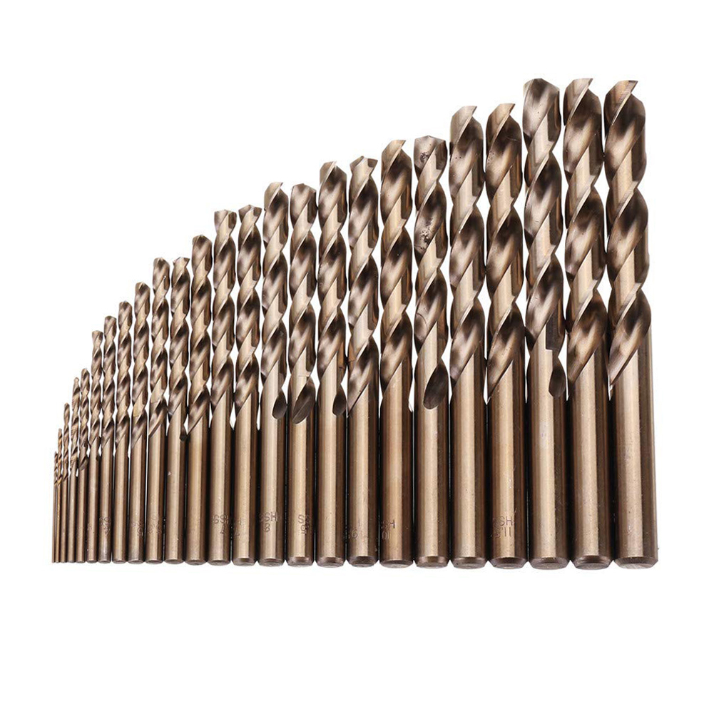 25pcs 1-13mm High Hardness Drill Bit Set Hss M35 Cobalt Twist Drills For Metal Wood Drilling Woodworking Hole Punching Hand Tool
