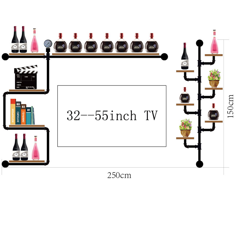 200*350CM Antique Design Bar Red Wine Goblet Glass Hanger Multi-storey Wall Wine Rack Multi-storey Holder Hanging Rack