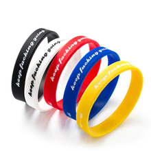 Trendy Inspirational Keep Going Bangles Silicone Sports Women Fluorescent Rubber Fitness Wristband Bracelet