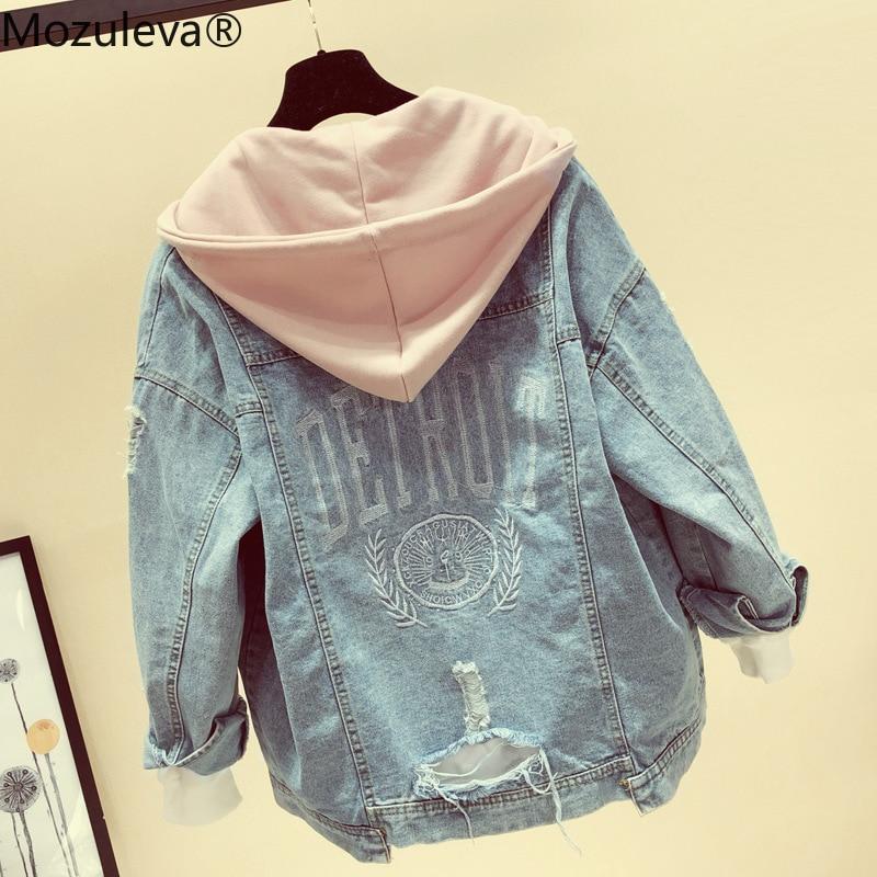 Mozuleva Jeans Coat Women Spring Autumn New Korean-style Loose-Fit Plus Size Hooded Versatile Tops Jeans Coat And Jacket Women