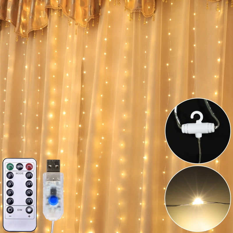 3M LED Garland Curtain String Lights Christmas Fairy Lights Bedroom Home Decoration On The Window Wedding Party Holiday Lighting