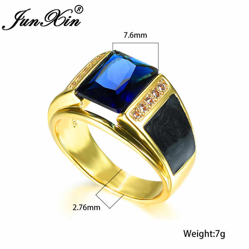 Anillos de boda de piedra azul geométricos de lujo para hombres mujeres anillo de oro amarillo anillo de compromiso Vintage zirconio joyería de fiesta para hombre