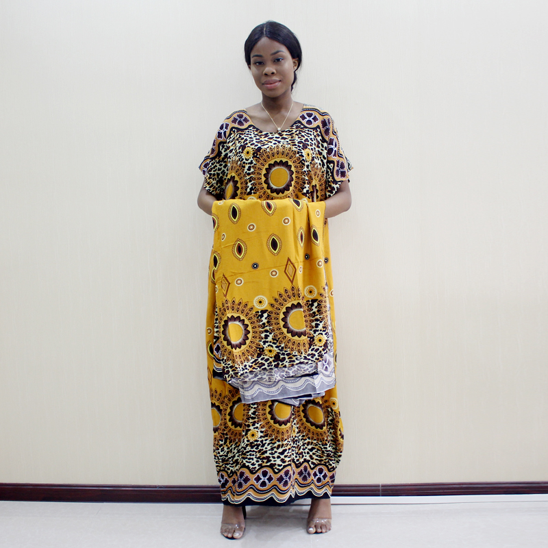 Bohemian Traditional Print Loose African Dress Autumn Fashion Women's Dress With Scarf