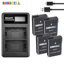 цена на BONACELL 1500mAh EN-EL14 ENEL14 EN EL14 Camera Battery + Dual Charger For Nikon D5200 D3100 D3200 D5100 P7000 P7100 MH-24