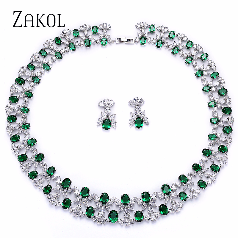 ZAKOL Luxury Women Jewelry Sets Flower Pave Zircon Necklace Earrings Set Clear Jewelry For Bride Wedding Dinner Dress FSSP296-in Jewelry Sets from Jewelry & Accessories on AliExpress