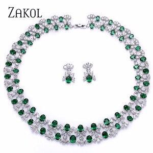 Image 1 - ZAKOL Luxury Women Jewelry Sets Flower Pave Zircon Necklace Earrings Set Clear Jewelry For Bride Wedding Dinner Dress FSSP296