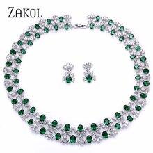ZAKOL luxe femmes bijoux ensembles fleur pavé Zircon collier boucles doreilles ensemble clair bijoux pour mariée mariage dîner robe FSSP296