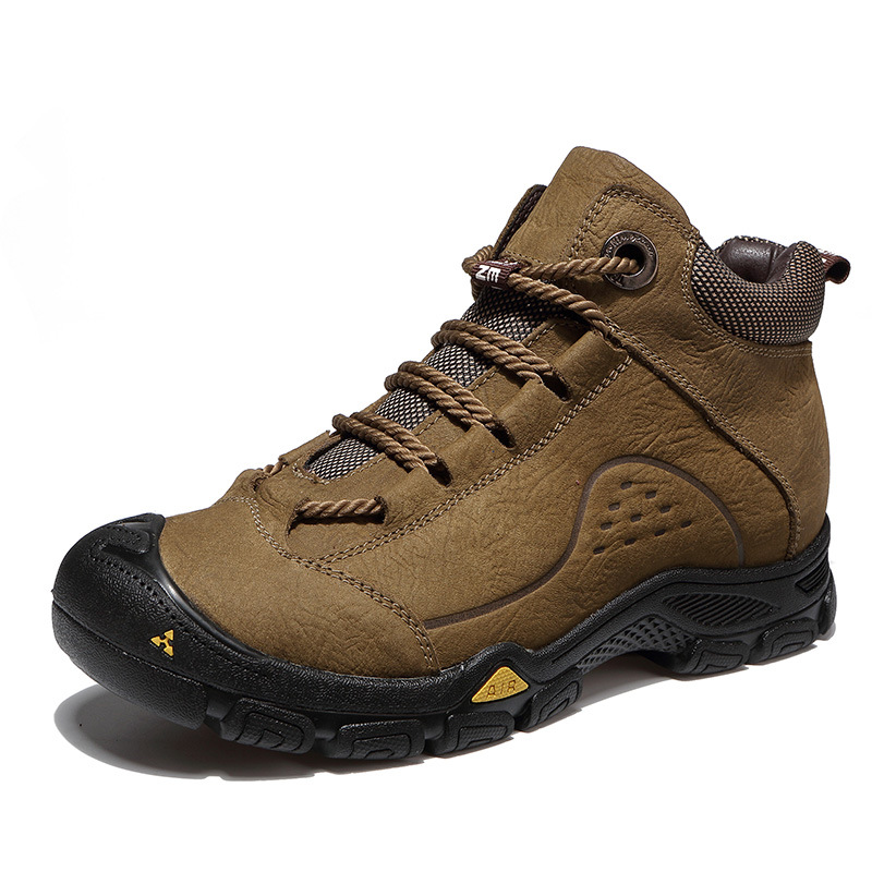 yellow antelope cotton shoes male high help men's boots snow hiking shoes winter plus velvet Martin boots men's leather