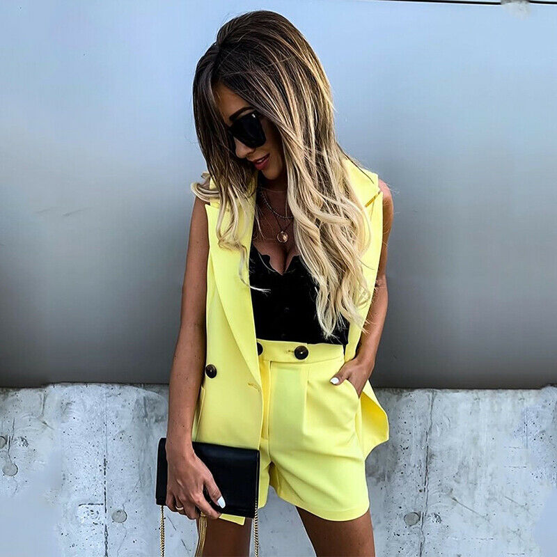Women Two Piece Sets Sleeveless Blazer And Pokcets Shorts Vest Jacket Coat Elegant Office Ladies Double Button Short Pants Sets