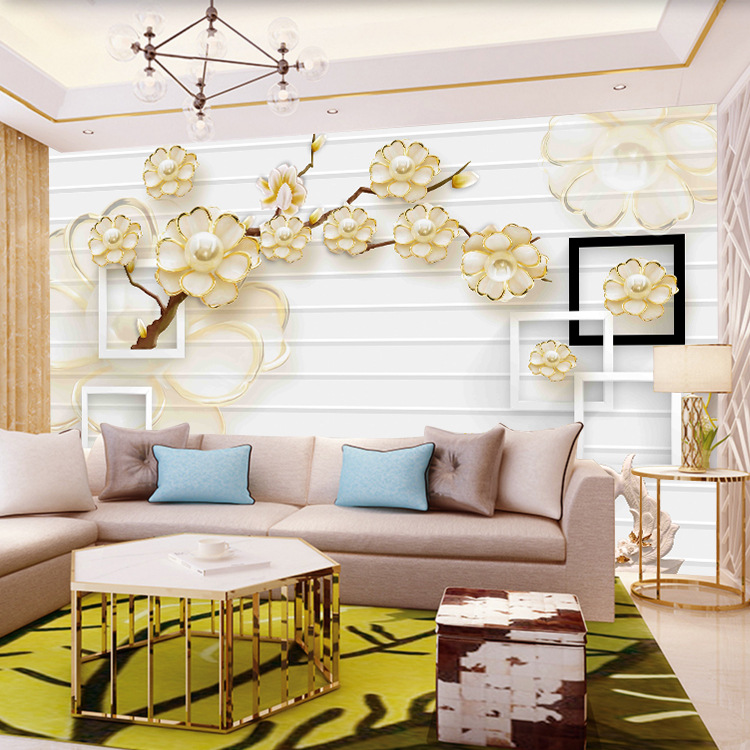TV Backdrop Wallpaper European Style Living Room Bedroom Wallpaper Film And Television Wallpaper 3D Jewelry Mural Seamless Wall