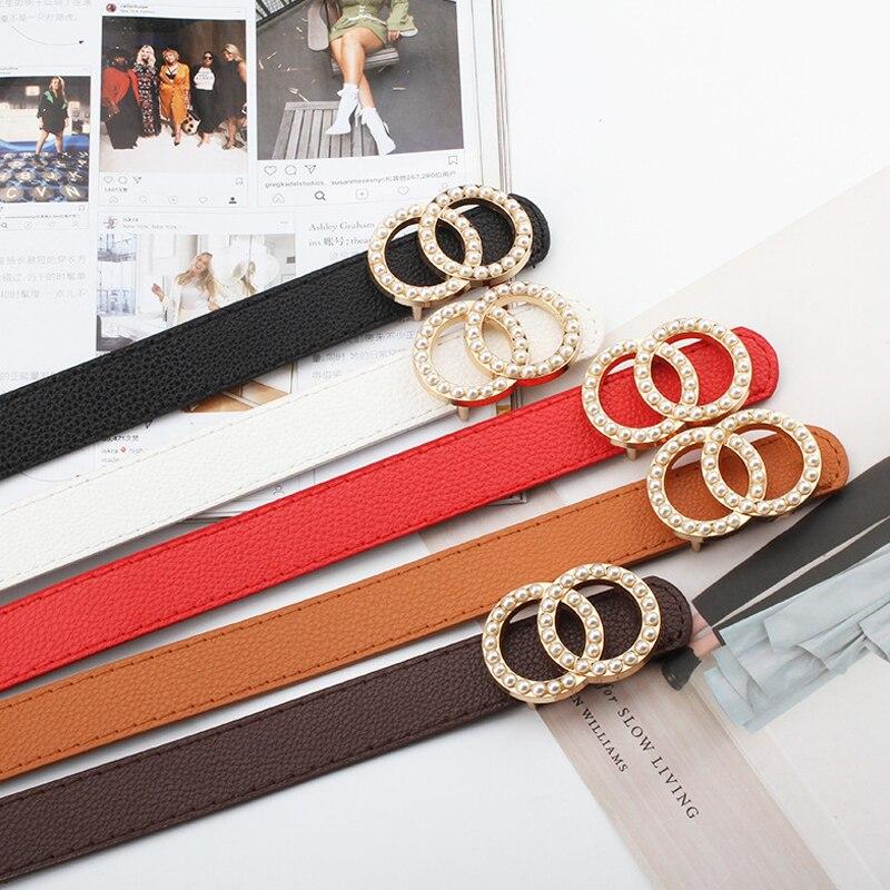 Litchi Pattern Leather Belt Women Waist Ceinture Femme Luxury Pearl Studded Buckle Belts For Women Fashion Black Pearl Belt 2020