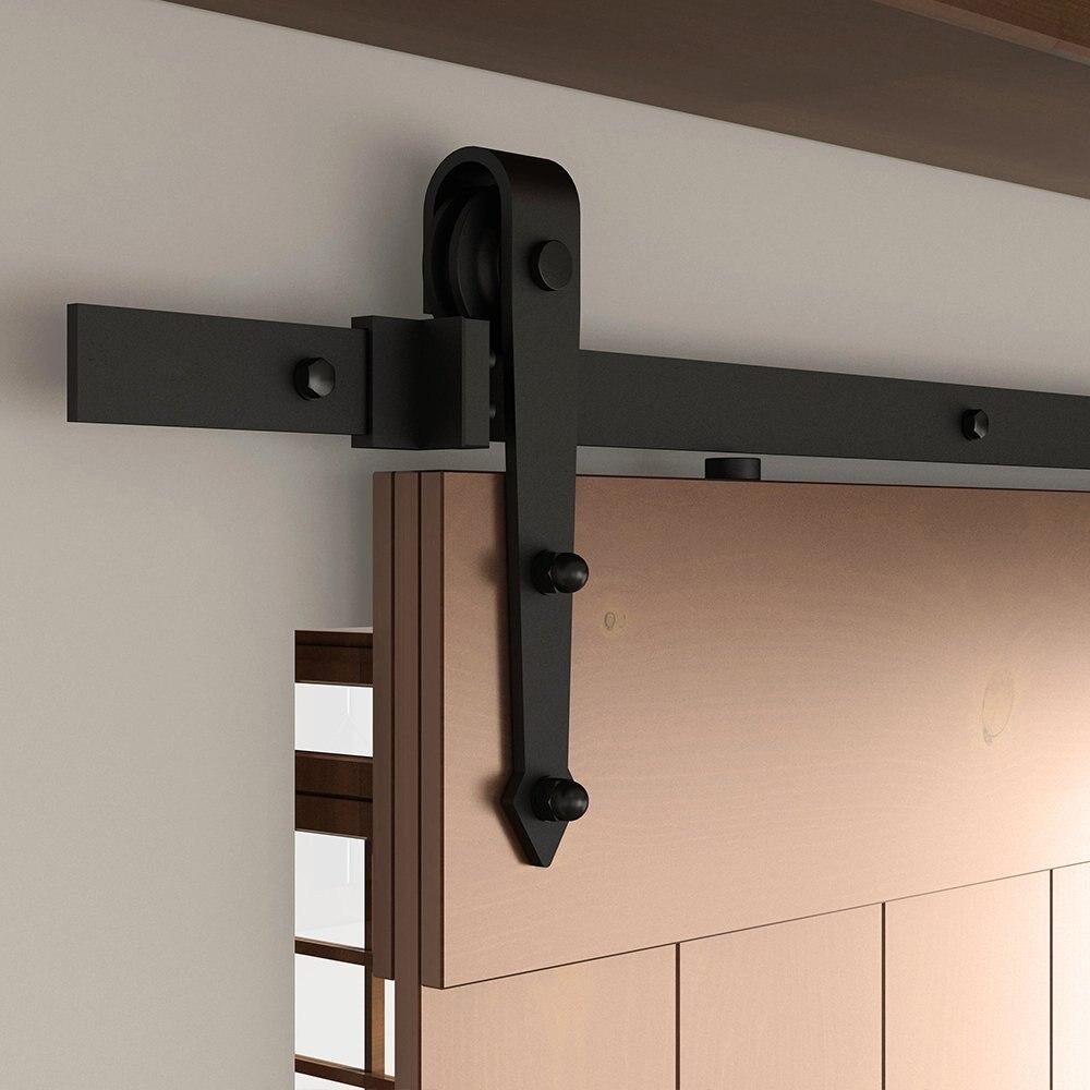 Kit de rail de porte coulissante en acier noir à sangle de 6,6ft 2x3. 3ft Rails, rouleau de suspension à flèche - 2