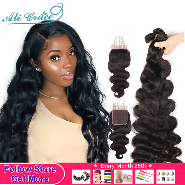 $ US $68.60 36Inches Long Body Wave Bundles With Closure Ali Grace Hair Bundles With Lace Closure 10a Grade Human Hair With Closure