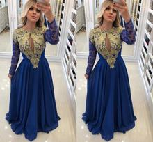 robe de soiree Vintage Royal Blue Gold Appliques Long Sleeves Mother Dresses Keyhole Neck Floor Length Formal Evening Gowns
