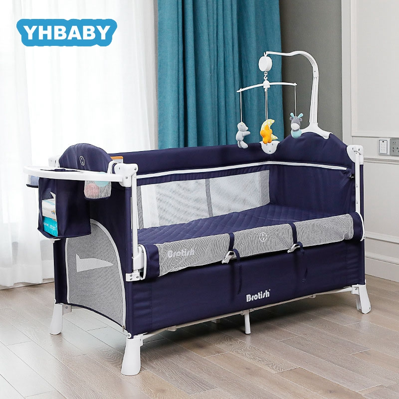 European Style Folding Baby Bed Splicing Bed Multifunctional Portable Newborn Baby Crib Cradle Bed