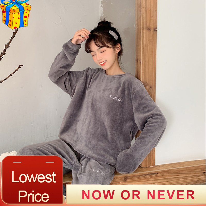 Mujer Velvet Tracksuit Pajamas Warm 2 Piece Set Sleepwear Tops+pants Conjunto Feminino Winter Woman Velor Smooth Soft Home Suit