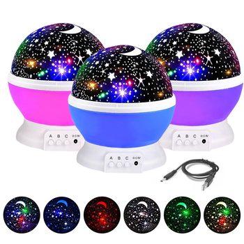 3 Colors LED Rotating Projector Starry Sky Night Lamp Romantic Projection Light Moon Sky Romantic Night Light Novelty mew starry sky babysbreath autorotation led night light