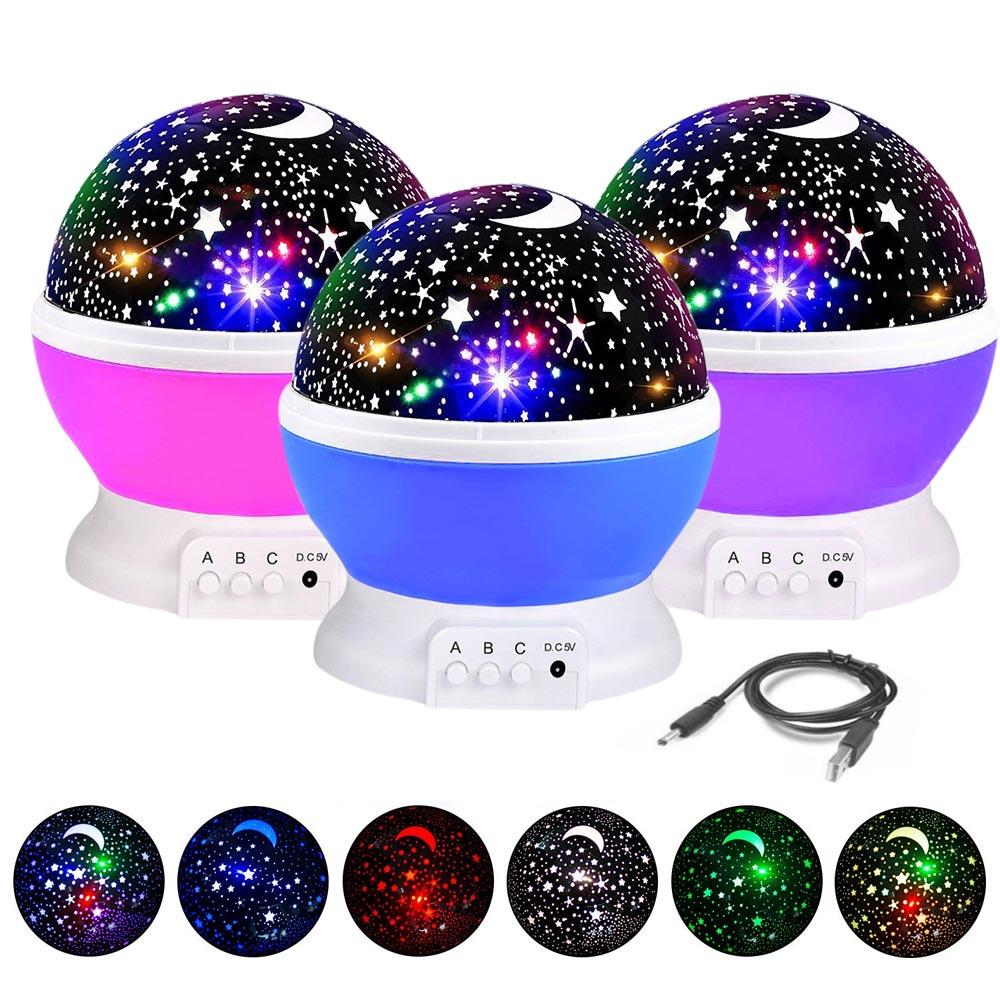 BRELONG 3 Colors LED Rotating Projector Starry Sky Night Lamp Romantic Projection Light Moon Sky Romantic Night Light Novelty