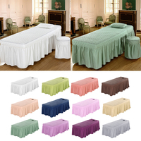 Beauty Face Bed Cover Massage Table Skirt Cotton Valance Sheet for Square Head Cosmetic Beds 190x70cm