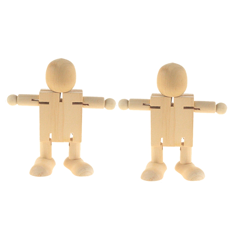 2PCS DIY Painting Graffiti Wood Man Deformation Joint Activity Wooden Robot Children Creative Educational Toys