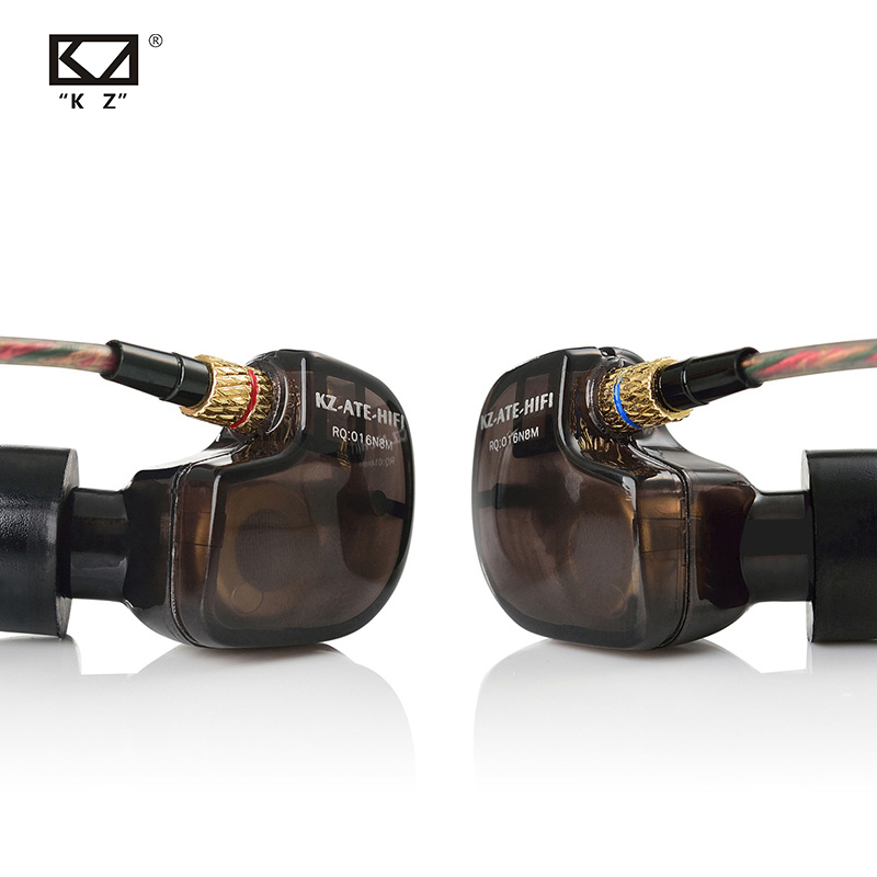 KZ ATE 1DD Copper Driver HiFi Sport Earphones In Ear Earphone For Running With Microphone Sound For Free Shipping