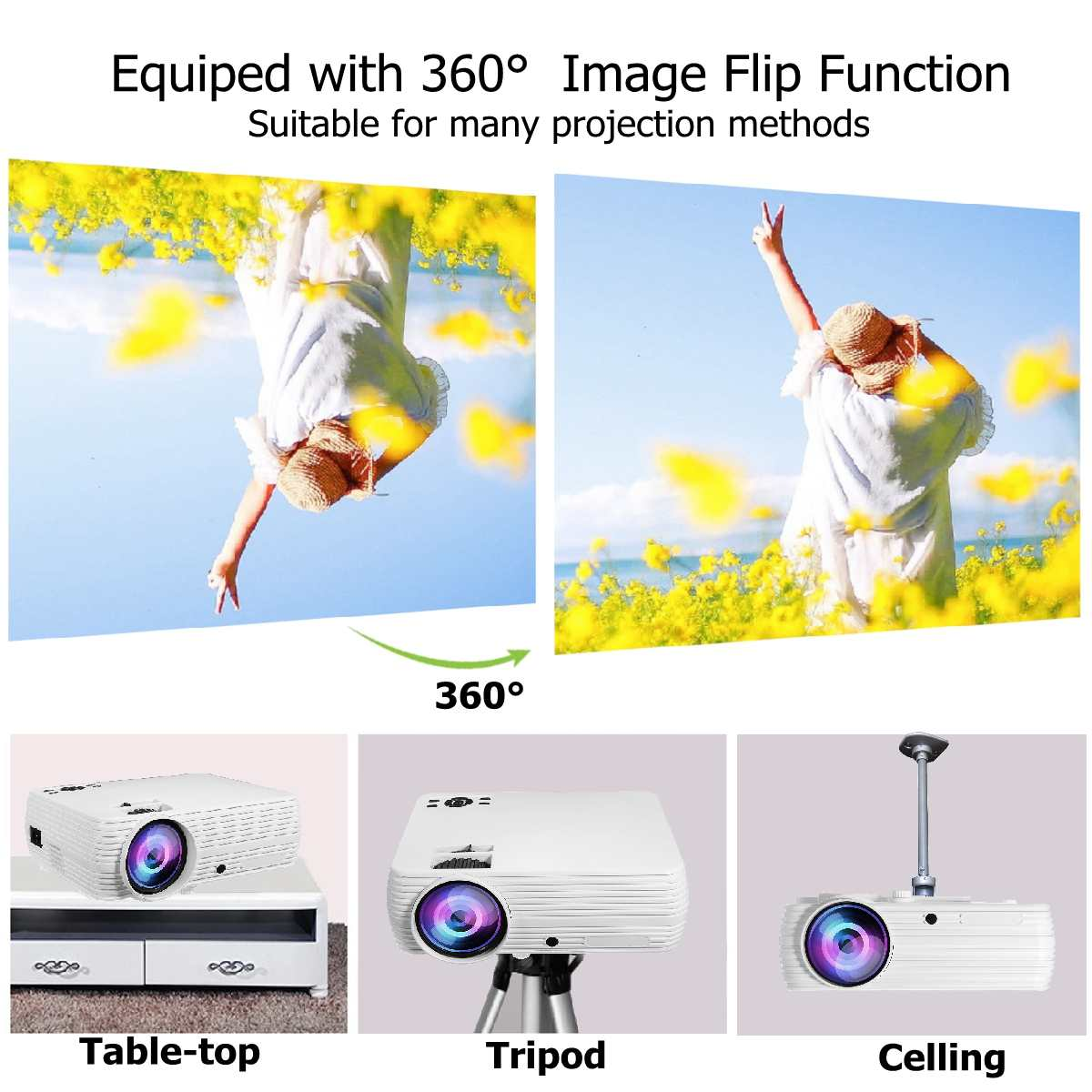 Person - TheaterMax™ X5 LCD Projector 7000 Lumens Support 1080P HD Multimedia Home Cinema Smart Home Theater