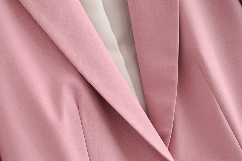 H646881bbbab94304ad191ad9e86a0a31S - Autumn Women Pant Suits Pink Single Button Blazer Jacket+Zipper Trousers Office Ladies Suits Two Piece Set Female Outwear
