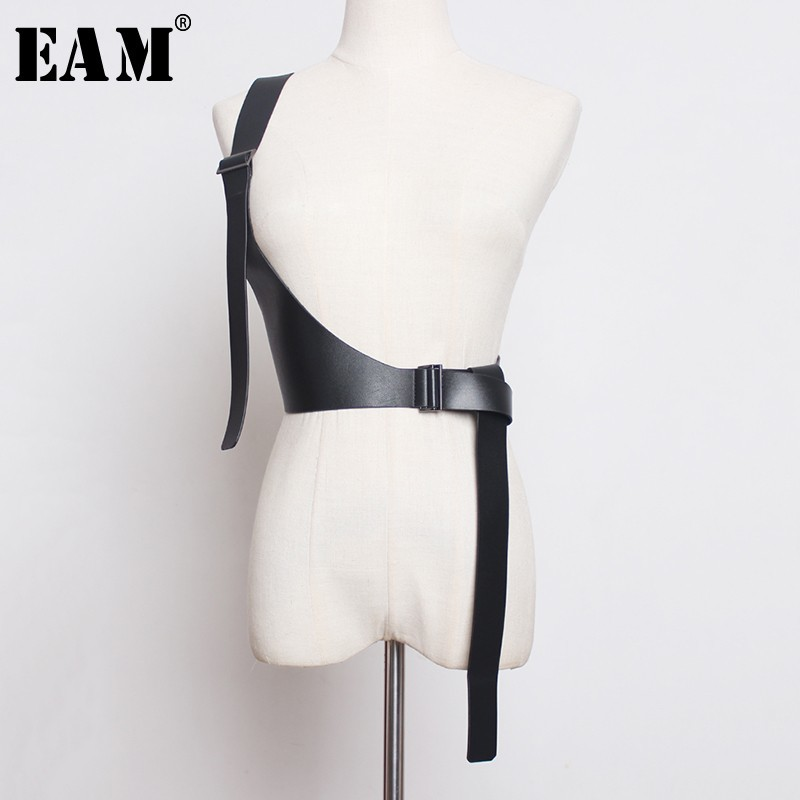 [EAM] 2021 New Spring Summer Pu Leather Strap Belt Brief Irregular Personality Girdle Women Fashion Tide All-match JX697