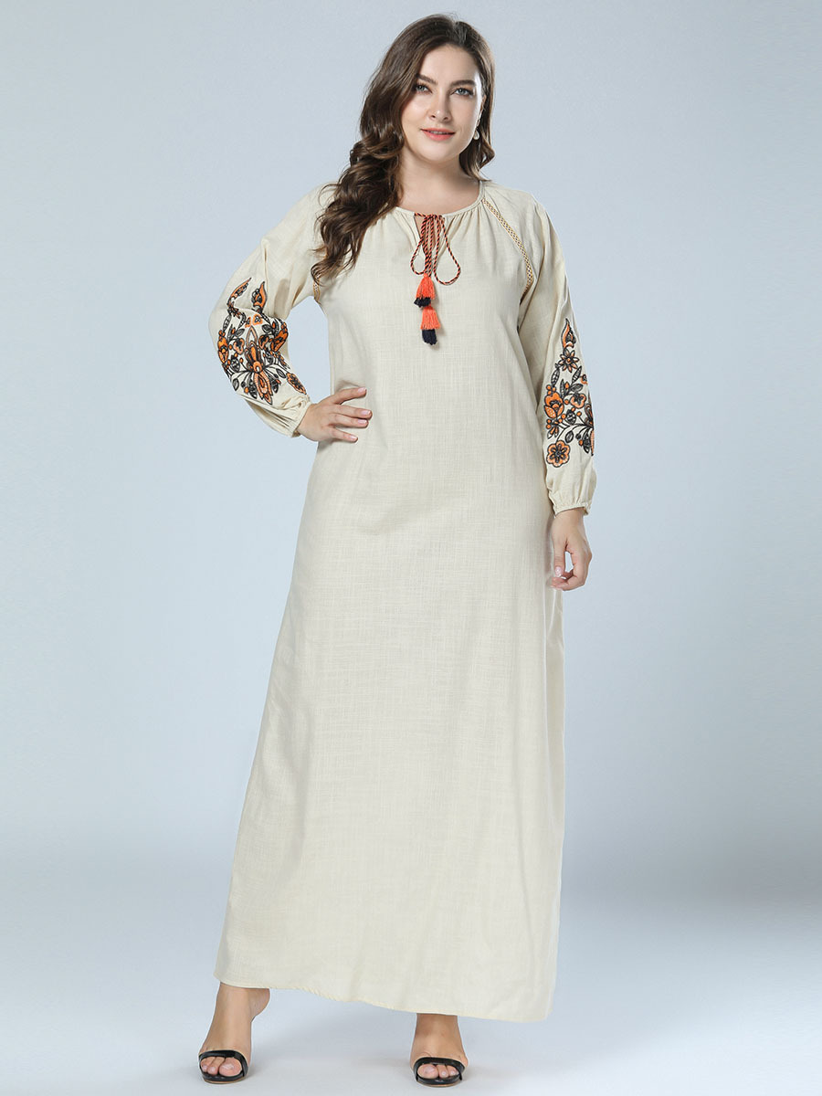 7226 Europe And America Fashion Embroidered Loose-Fit Big Skirt Ethnic-Style Drawstring Loose And Plus-sized WOMEN'S Dress