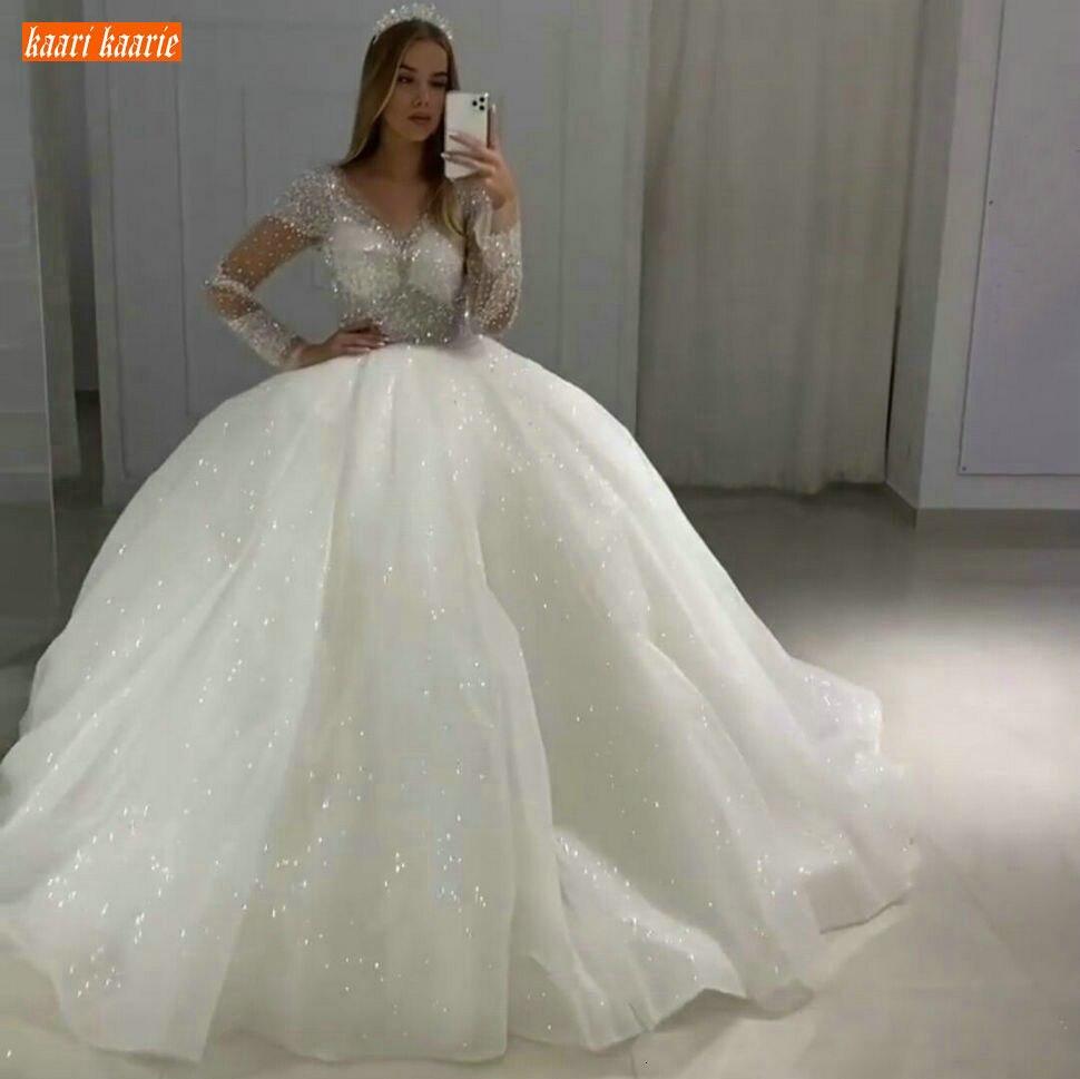Glitter White Wedding Dresses V Neck Beaded Crystal Organza Ball Gown Bridal Dresses Long Sleeves 2020 Custom Made Wedding Gowns