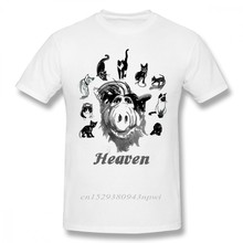 Camiseta de algodón puro con estampado de Heaven Alf para hombre, Camiseta de cuello redondo, camisetas de cuello redondo, ropa de calle de gran tamaño para hombre, envío gratis