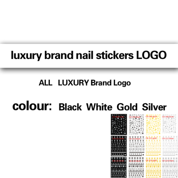 10PCS  Popular Nail Manicure Sticker LUXURY Brand Logo Letter Nail Sticker Back Glue Adhesive DIY Decals Foil Manicure Nail Art 10pcs brand nail stickers linear flower pattern nail art decorations slider for nail manicure adhesive diy decals foil nail art