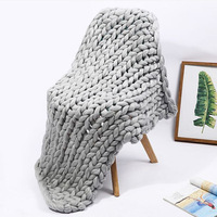 Hand Chunky Knitted Blanket Thick Yarn Wool-like Polyester Bulky Knitted Blankets Winter Soft Warm Throw Drop Photography Props
