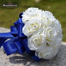 Kyunovia Silk Rose Bridesmaids Bouquet Artificial Flower Bouquets with Rhinestones Centerpiece Flowers Red Wedding Bouquet GC27