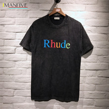 Rhude t-shirt Colourful Logo Printed Women Men T shirts tees Hip-hop Streetwear 2019 New arrived Cotton Summer shirt