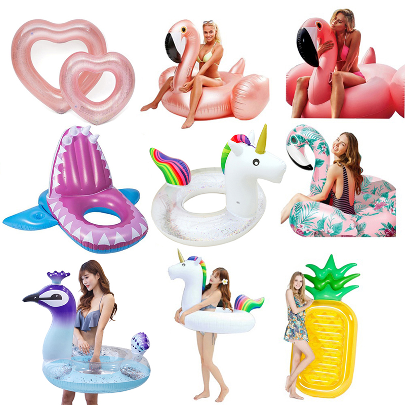 YUYU Inflatable Flamingo Pool Float Inflat Unicorn Swim Ring Gaint Swimming Float Tube Circle Pool Sequin Swimming Ring Pool Toy