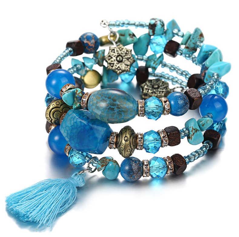 Nieuwe Boho Kleurrijke Turkoois Kralen Armband Voor Vrouwen Mannen Metalen Koper Resin Natuursteen Bead Charm Etnische Verstelbare Armband
