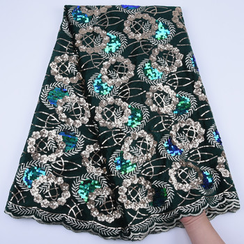 African Velvet Lace Fabric 2020 Nigerian Net Cord Lace Fabric Colorful Sequins Soft Velvet Voile Lace For Evening Party Dress