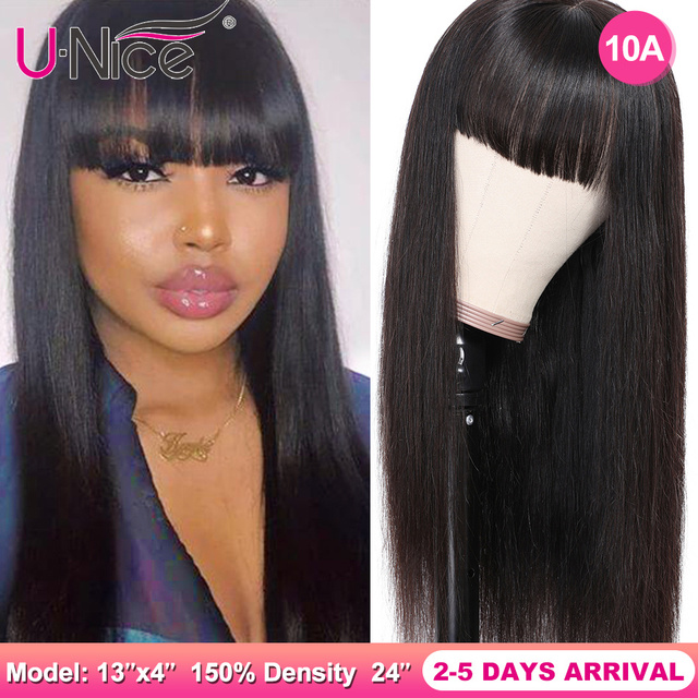 $ US $71.89 Unice Hair Chinese Bang Human Hair Wig Pre Plucked Straight Wigs For Women Glueless Transparent Lace Front Human Hair Wigs
