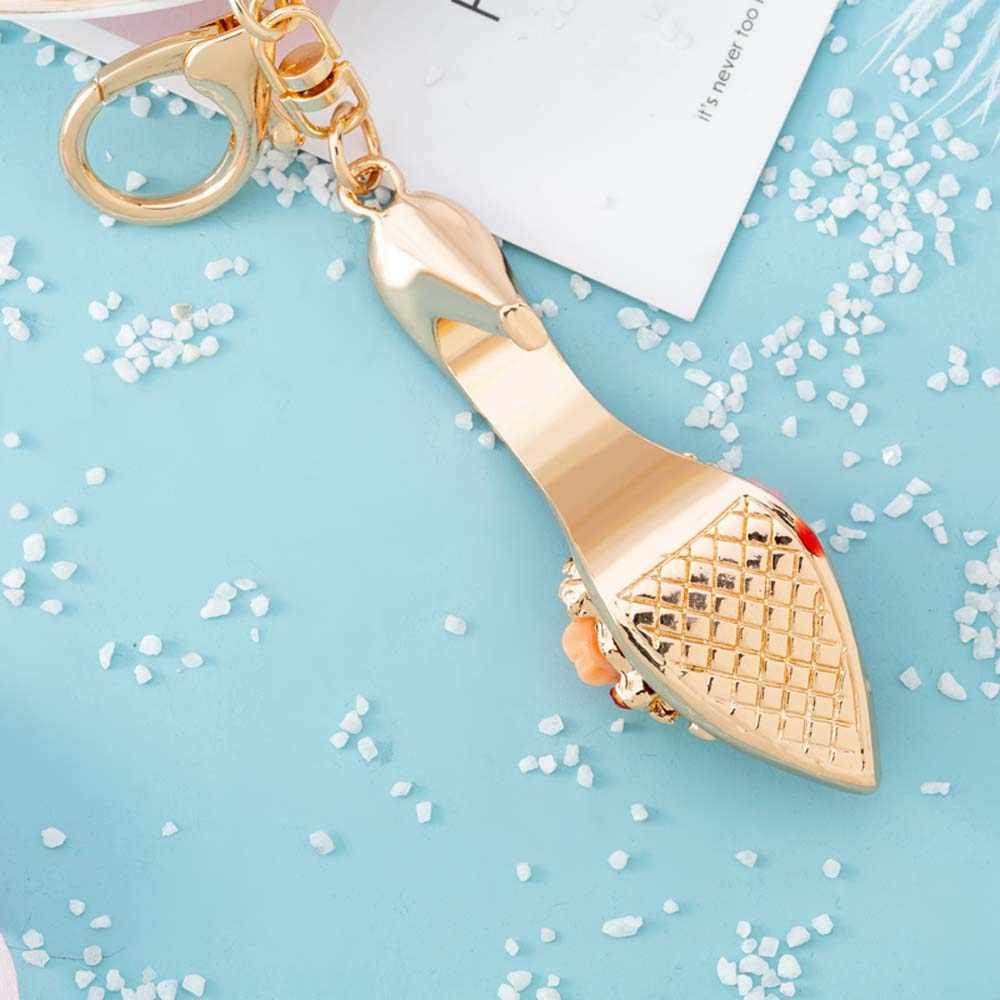 ハイヒールの靴キーホルダー美しい販売可能なファッショナブルなラインストーンバッグキーチェーン財布キーリング女性ガール