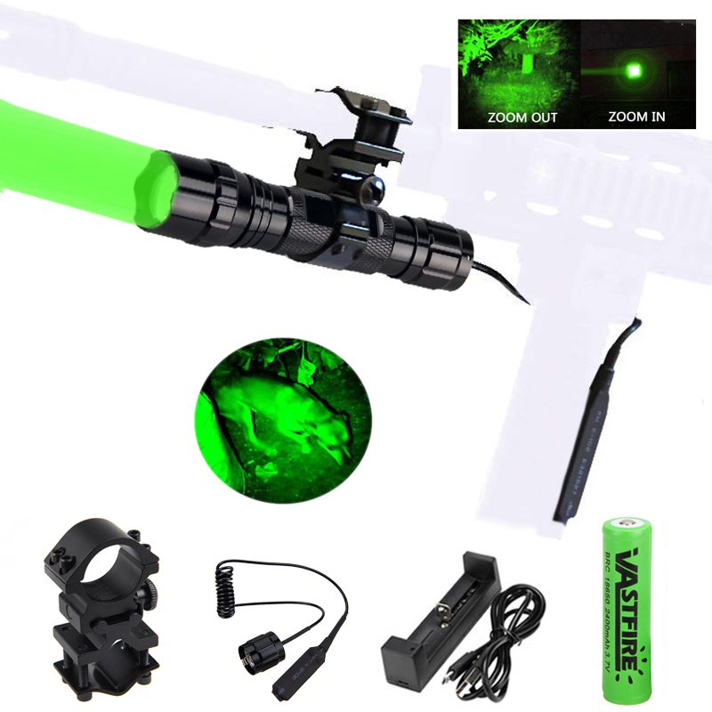 300 Yards Green/Red Zoomable Hunting Torch Tactical Airsoft Pistol Armas Flashlight+18650+USB Charger+Rifle Socpe Mount+Switch