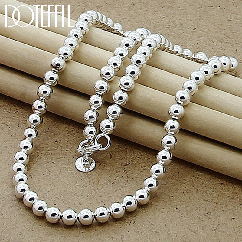 DOTEFFIL 925 Sterling Silver 6mm Smooth Beads Ball Chain Necklace For Women Trendy Wedding Engagement Jewelry Free Shipping