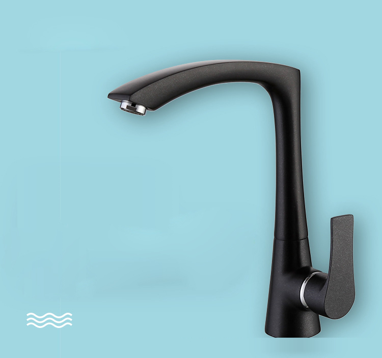 Black Paint Quartz Copper Kitchen Sink Faucet Blacked Hot Cold Mixer Tap Single Hole Side Handle Nozzle Water Saving Aerator