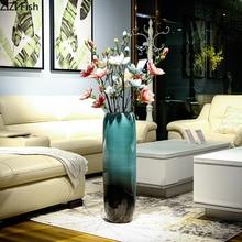 Jarrones de cerámica clásicos, florero para el suelo, flor de habitación, inserto, artesanías de porcelana con gradiente, decoración Vintage para el hogar
