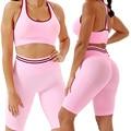 Комплект для йоги из 2 предметов, женский спортивный бюстгальтер, топ, бесшовные шорты, одежда для спортзала и фитнеса, костюмы, модный спорт...