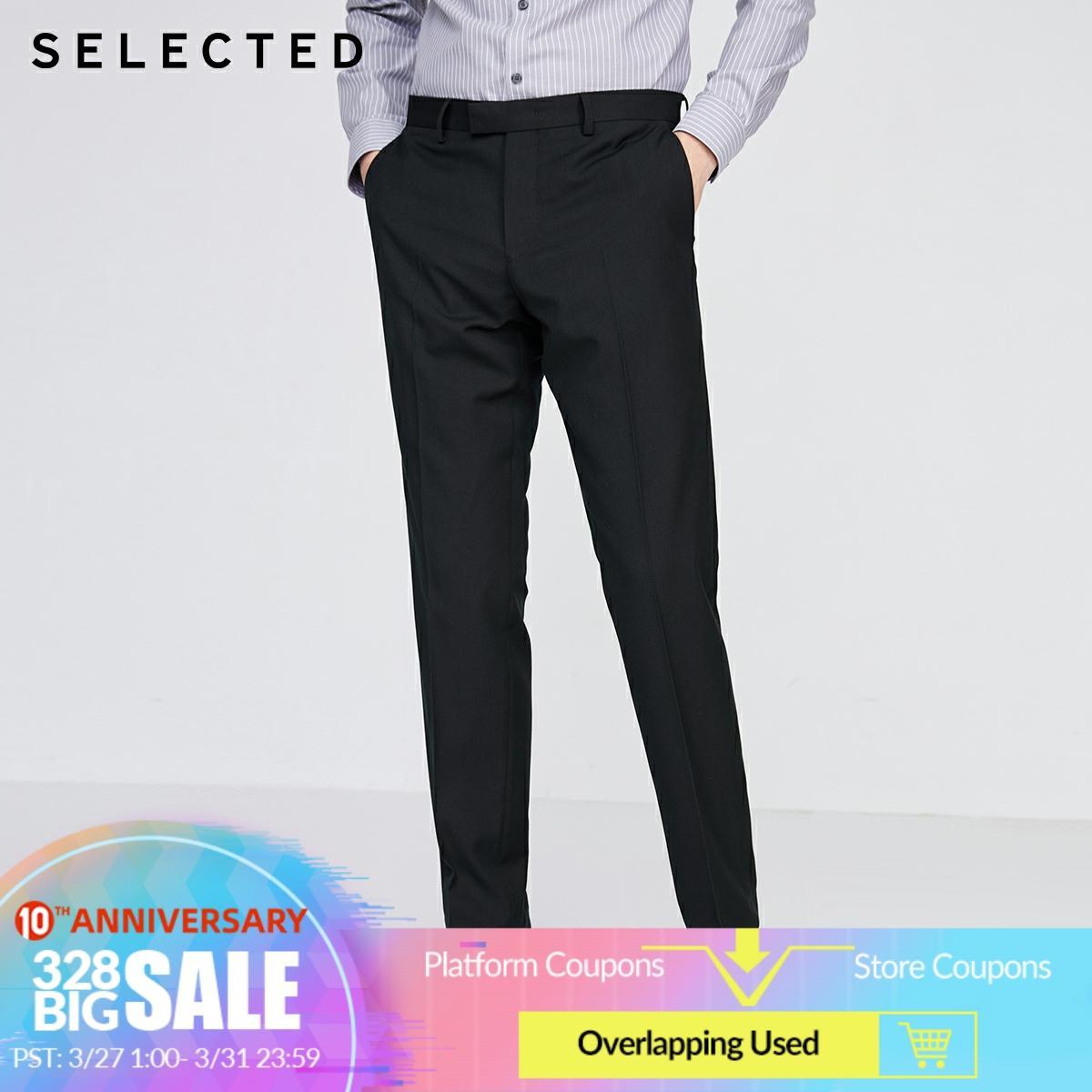 SELECTED Men's Regular Slim Fit Suit Pants Pure Color Trousers SIG|42016A513