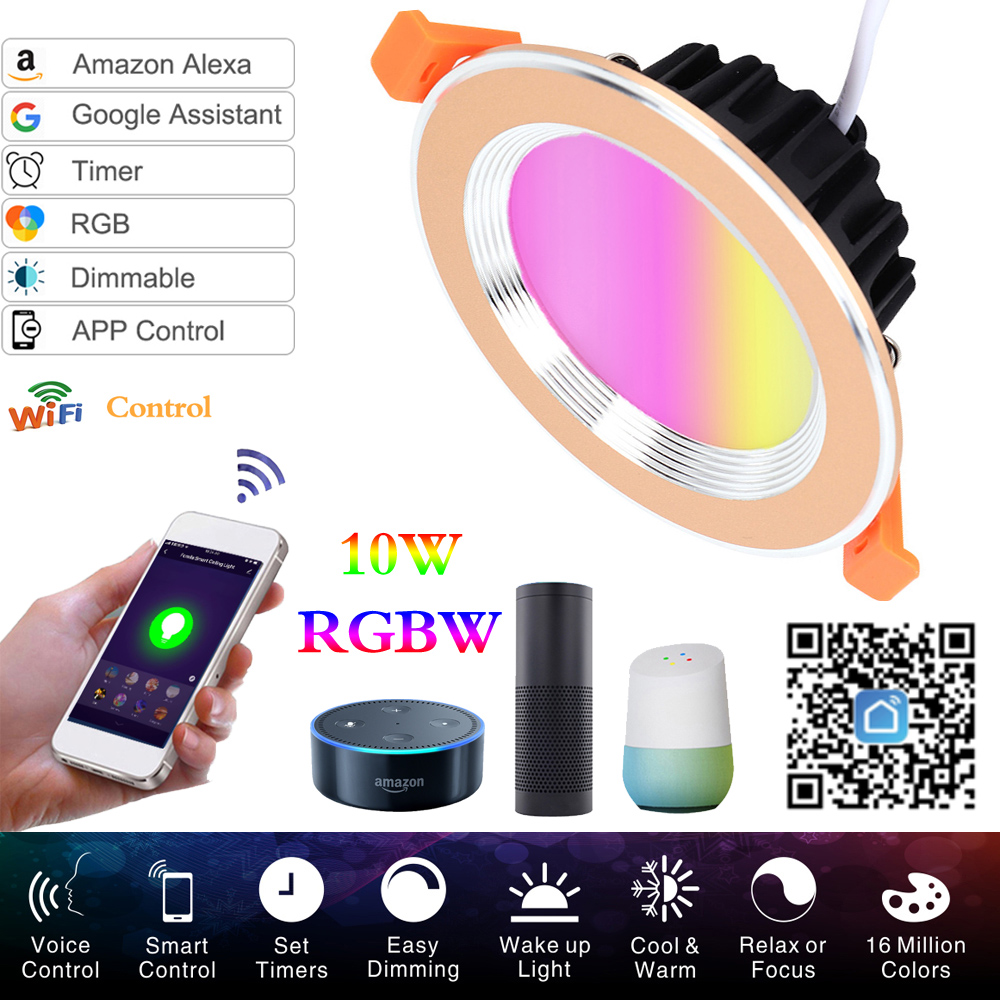 WIFI Smart LED Downlight Dimmable Tuya App RGB+CW 10W Led Spot 220V / 110V Ceiling Lamp Recessed Down Lights Round Panel Light