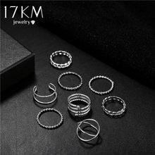 17KM Vintage Twist Gold Sliver Rings Set For Women Round Finger Ring Knuckle Female Fashion Wedding Jewelry Accessories(China)